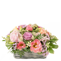 romantic basket in pink colours